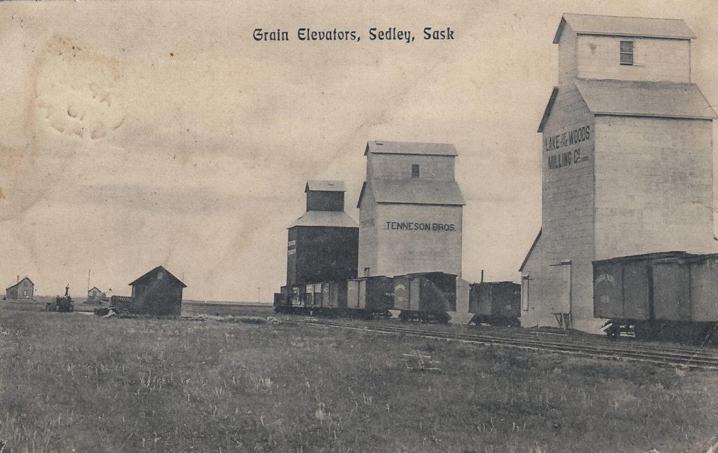 Grain elevators in Sedley, SK, date unknown
