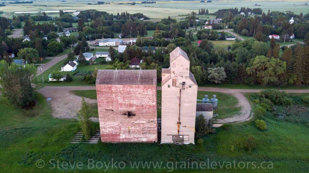Drone view of Oakburn grain elevator, July 2020. Contributed by Steve Boyko.