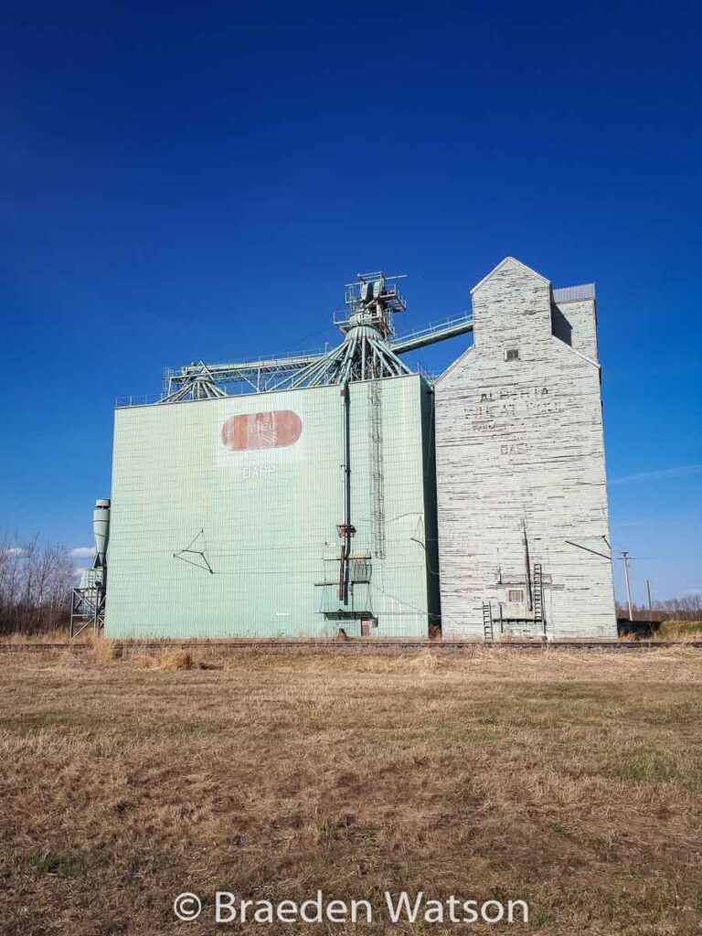 Grain elevator in Dapp, AB, May 2020. Contributed by Braeden Watson.