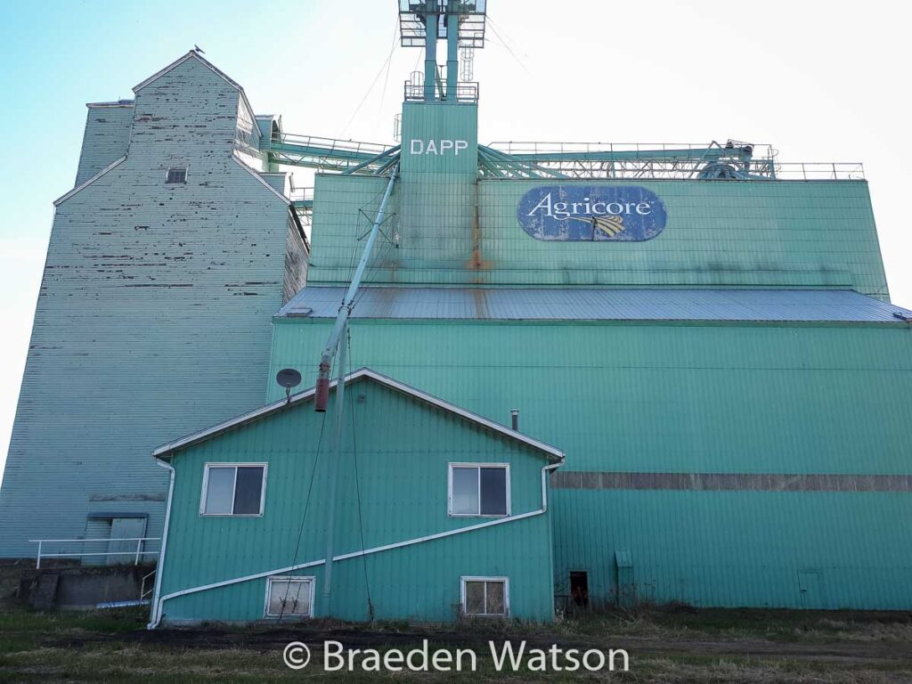 Ex Agricore grain elevator in Dapp, AB, May 2020. Contributed by Braeden Watson.