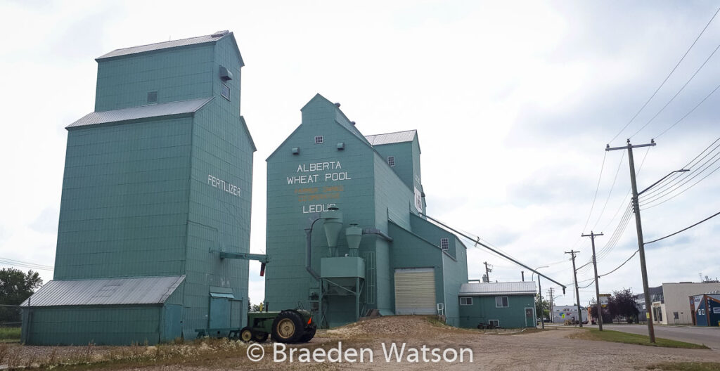 Grain and fertilizer elevators in Leduc, AB, Aug 2020. Contributed by Braeden Watson.