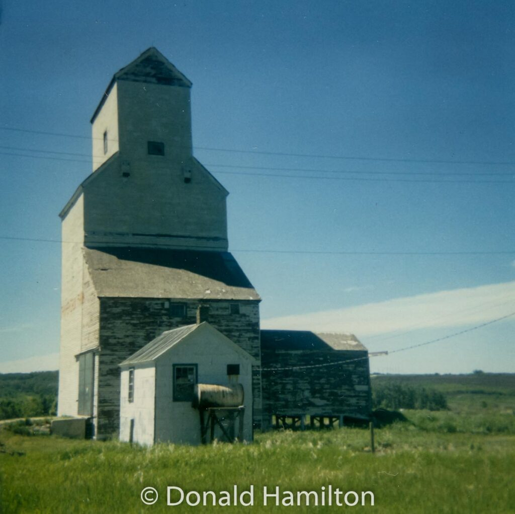 Grain elevator in Birdtail, MB, June 1991. Contributed by Donald Hamilton.