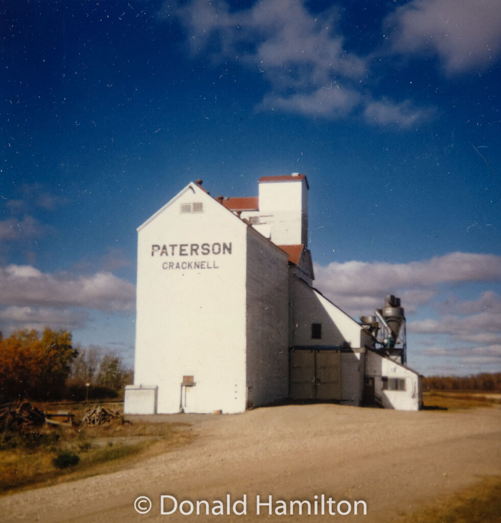 Paterson grain elevator in Cracknell, MB, Oct 1990. Contributed by Donald Hamilton.