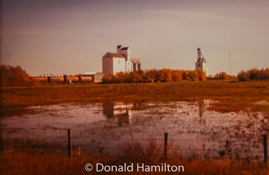 Manitoba Pool Elevator and Cargill elevator, Solsgirth, July 1992. Contributed by Donald Hamilton.