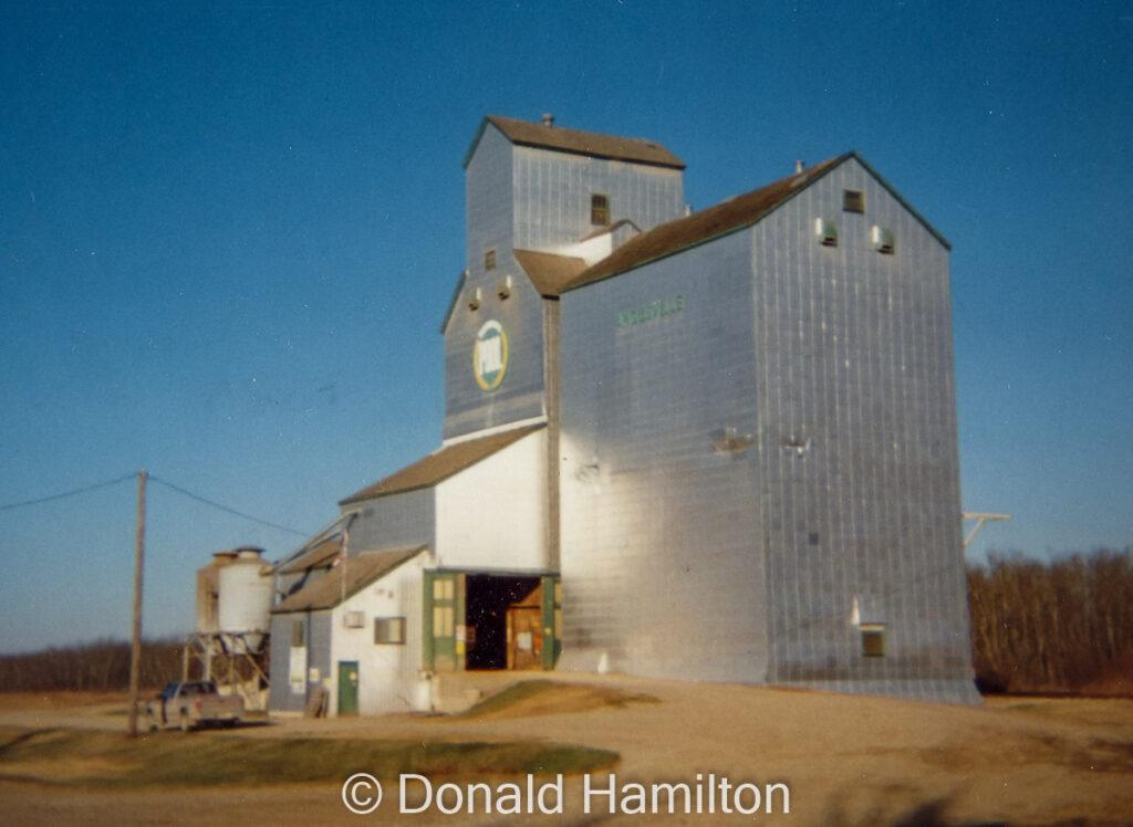 Angusville grain elevator, Oct 1994. Copyright by Donald Hamilton.