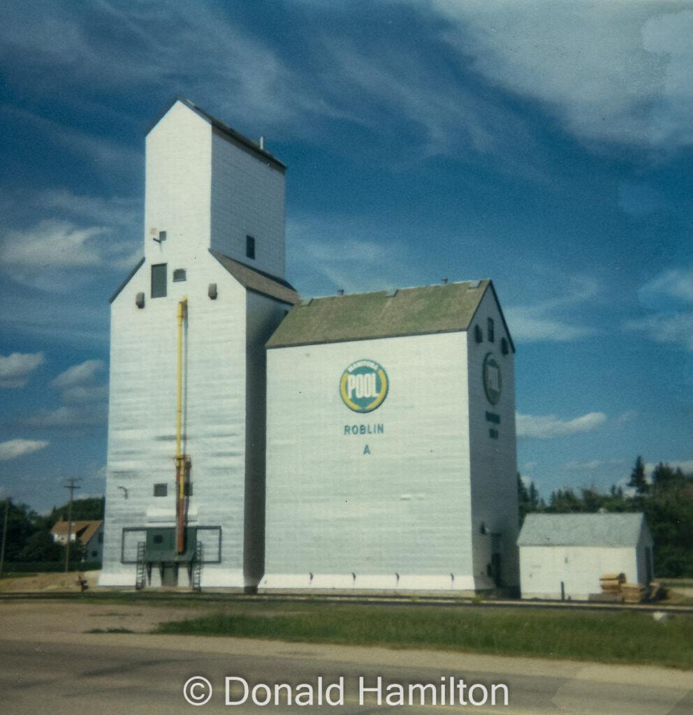 """Roblin """"A"""" grain elevator, date unknown. Copyright by Donald Hamilton."""