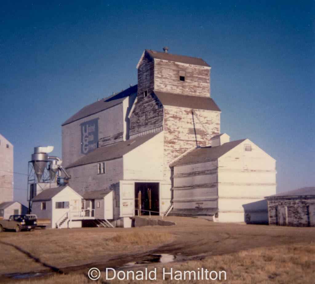 UGG grain elevator in Oakburn, MB, 1989. Copyright by Donald Hamilton.