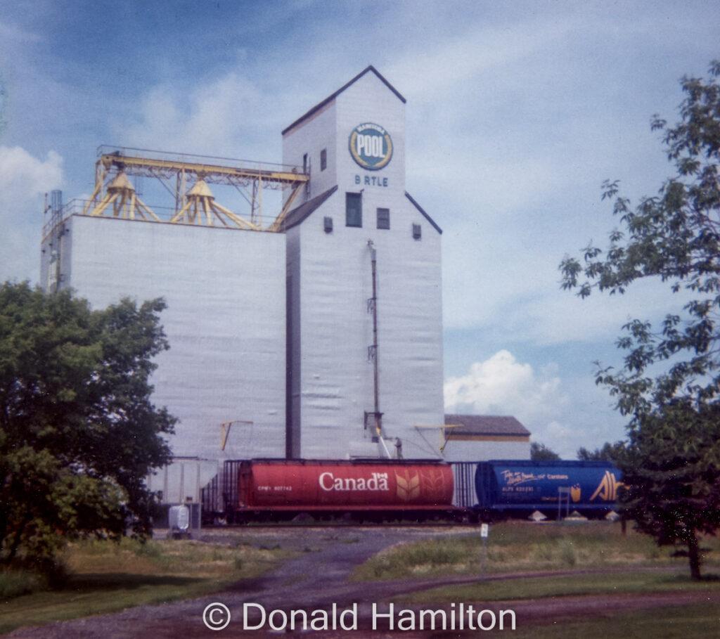 Birtle, MB grain elevator, Aug 1993. Copyright by Donald Hamilton.