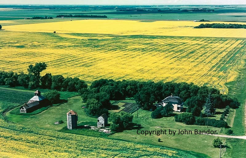 Aerial photo of farm with grain elevator near Carberry, 2014. Contributed by John Bandor.