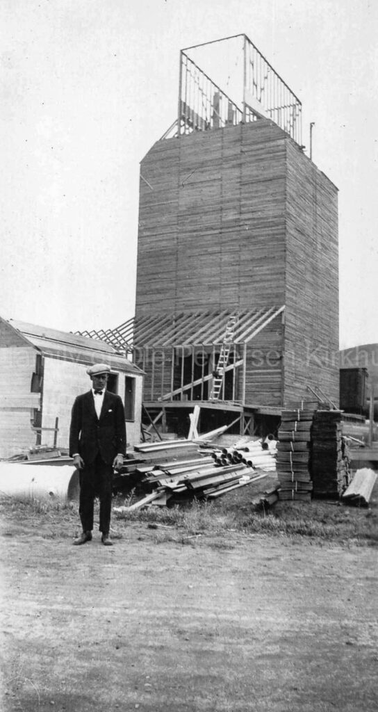 Clearwater grain elevator under construction, 1928. Photo courtesy of the family of Ole Kirkhus.