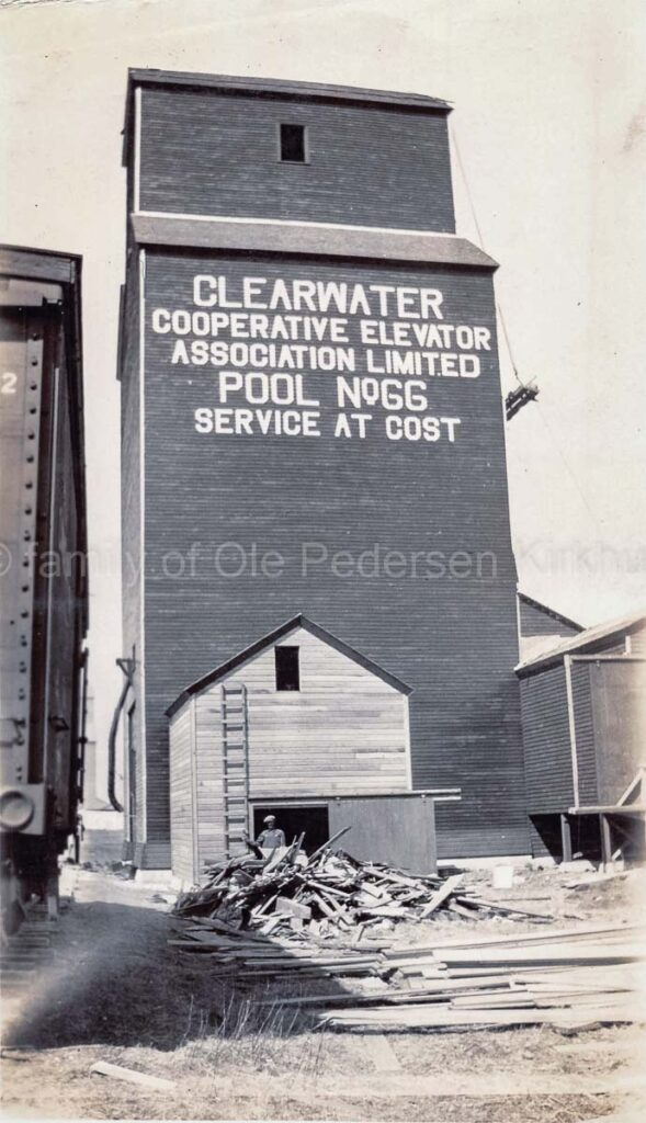 Newly constructed Clearwater grain elevator, 1928. Clearwater grain elevator under construction, Photo courtesy of the family of Ole Kirkhus.