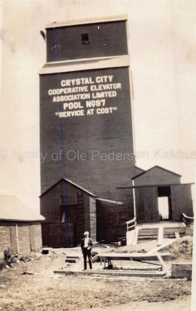 Crystal City, MB grain elevator under construction, 1927 or 1928. Contributed by the family of Ole Pedersen Kirkhus.