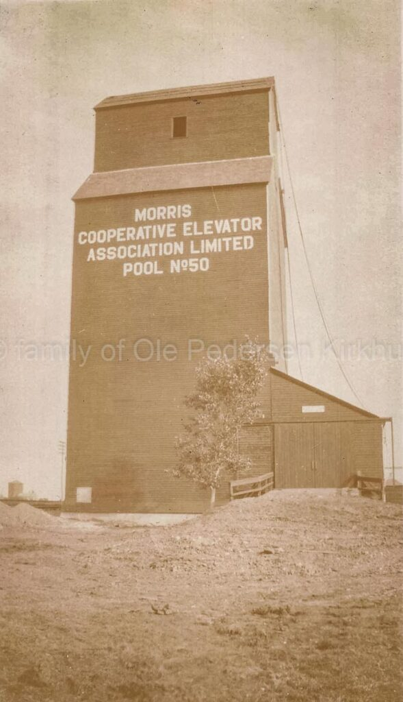 Pool elevator #50 in Morris, MB, 1927. Contributed by the family of Ole Pederson Kirkhus.
