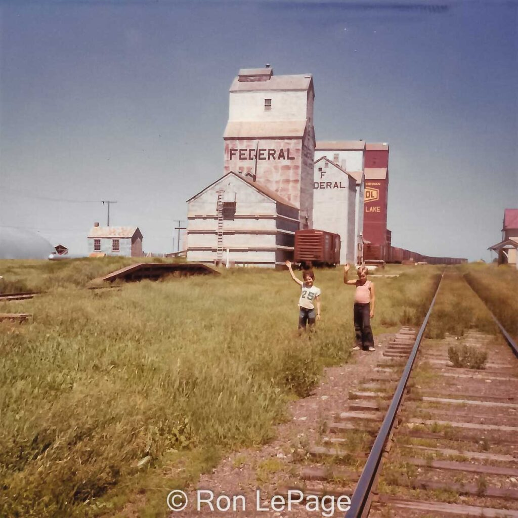 Meadow Lake, SK grain elevators, 1970s. Contributed by Ron LePage.