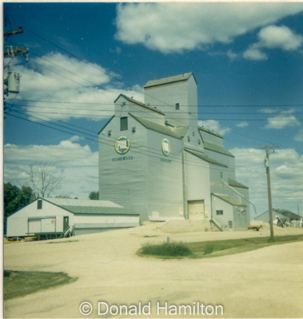 Homewood, MB grain elevator, June 1991. Copyright by Donald Hamilton.