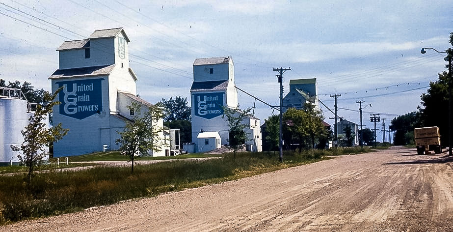 Homewood, MB grain elevators, 1966. Photographer unknown.